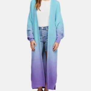 Free People Come Together Long Ombre Cardigan NWT